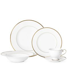Mikasa Cameo Gold Collection - Fine China - Macy's Kitchen Furniture, Furniture Design, Dinner Sets, Mikasa, Fine China, Utensils, Dinnerware, Beautiful Homes, Sweet Home