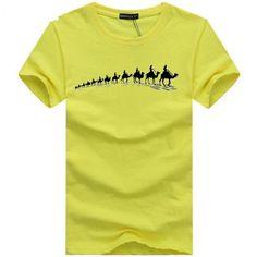 Short Sleeve Print Pattern Broadcloth Fabric T-Shirt For Men. #Mentshirt #ShopOnline #MehdiGinger