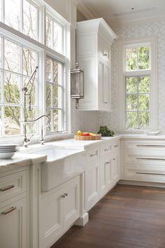 These are my cabinets... Peter Salerno, Wyckoff kitchen & bath designer, NJ. Stratta tile design. Peter Rymwid photo.