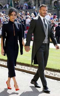 Former Spice Girl Victoria Beckham and soccer star David Beckham at the Royal Wedding.