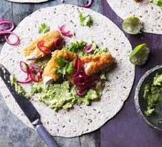 Spread chunky homemade guacamole on flatbreads, use this southern-style fried chicken recipe to create goujons and serve with sweet onion topping