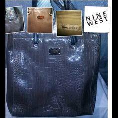 Nine West a Tote Nine West snakeskin milk chocolate color tote. Small scratch on bottom Nine West Bags Totes