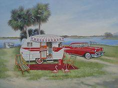 Vintage 1957 Chevy Comet Travel Trailer Flamingo RV ART