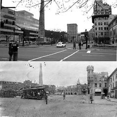 Downtown Asheville: now and then.