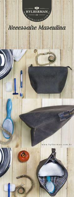 Para o trabalho, viagens ou mesmo para o dia a dia, a nova Necéssaire Pool da Hylberman and Hill, em seu formato diferente, ajuda a acomodar os produtos de higiene com estilo e simplicidade. #homem #moda #courolegitimo #Hylberman #style #couro #necessaire