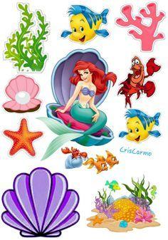 Mermaid Disney, Ariel The Little Mermaid, Little Mermaid Cake Topper, Car Cake Toppers, Ariel Cake, Birthday Logo, Disney Princess Birthday Party, Cute Disney Pictures, Merian