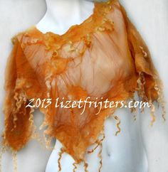 Orange Fluffy Curly Short Nuno Felted Poncho with by lizetfrijters, $60.00