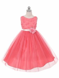 Coral Flower Girl Dress with Rosette Accented Bodice - New Arrivals