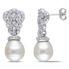 Miadora Sterling Silver Cultured Freshwater Pearl and Created White Sapphire Earrings (9-9.5 mm)
