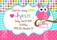 GIRL polka dot owl Birthday or baby shower by PrettyPartyCreations, $11.00