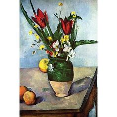 Buyenlarge 'Still Life with Tulips and Apples' by Paul Cezanne Painting Print