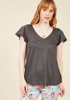 Flutter and Flatter Knit Top in Charcoal | ModCloth