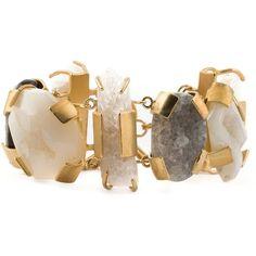 Kelly Wearstler Oleander Bracelet (6,650 MXN) ❤ liked on Polyvore featuring jewelry, bracelets, metallic, bracelet bangle, kelly wearstler jewelry, kelly wearstler, drusy jewelry and druzy jewelry