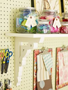 Crafty Wall Storage - Instead of relegating all your crafting supplies to bins and drawers, utilize open options on empty wall space. A pegboard outfitted with clever storage components keeps supplies and tools organized, in sight, and at your crafty fingertips.