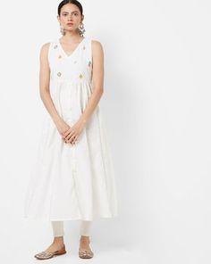 Check out Panelled A-line Kurta with Embroidery on AJIO! A Line Kurta, Off White, Embroidery, Check, Dresses, Fashion, Vestidos, Moda, Needlepoint