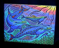 3 dolphins Ceramic Tile Wall Art