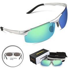 Torege Men's Sports Style Polarized Sunglasses Driver Glasses Unbreakable Frame M291 (Sliver&Green lens) >>> Check this awesome product by going to the link at the image.