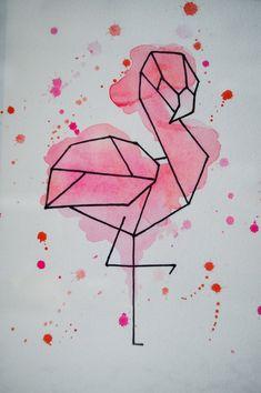 Art Drawings Sketches Simple, Pencil Art Drawings, Doodle Drawings, Easy Drawings, Flamingo Painting, Flamingo Drawings, How To Draw Flamingo, Geometric Drawing, Geometric Art Tattoo