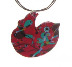 4161-1 - Red Floral Bird Pendant on Cord originjewelry.net