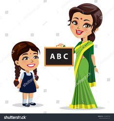 An Indian school girl standing next to her teacher/ mother teaching her English alphabets written on a slate Girl standing Teachers illustration School girl