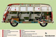 Vista fantasma VW typ 241 Samba. 1961