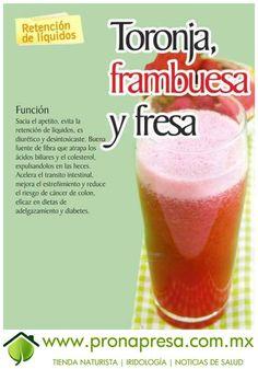 Jugo Natural de Toronja, Frambuesa y Fresa: Evita la retención de líquidos. #ConsejosDeSalud #TipsSaludables #Salud