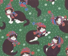 """Christmas KITTY CAT Fabric with Holiday Hat & Scarf by NsewFabrics, $8.99 ~~Fabric measures 1 yard x 44/45"""" wide Top quality~100% COTTON   ~NEED MORE YARDAGE ?? -Simply select a higher quantity when you """"Add To Your Cart"""" :) -Example: a quantity of 2 would be 2 yards, a quantity of 3 would be 3 yards and so on.  -Fabric will be continuous unless otherwise stated..."""