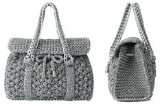 Crochet tote bag with flap