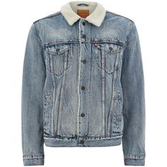 TOPMAN LEVI'S Blue Sherpa Jacket ($145) ❤ liked on Polyvore featuring men's fashion, men's clothing, men's outerwear, men's jackets, blue, men's faux shearling jacket, mens sherpa jacket, mens blue jacket, mens fleece lined jacket and mens sherpa fleece jacket