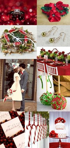 Weiße Weihnachten Hochzeit mit Rot und Grün Dekoration Inspiration | Optimale Karten für Verschiedene Anlässe