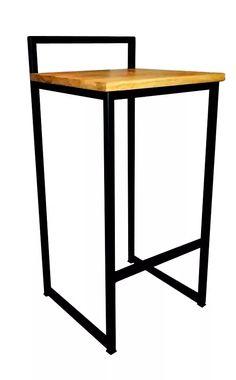 taburete - banqueta - hierro y madera - moderna industrial