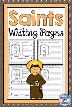 Printable Catholic writing pages on the saints. These are great for religious education during the year or for All Saints' Day. 79 Catholic Saints are included. This Catholic activity can be used in the classroom, homeschool or Sunday school. Catholic Saints For Kids, Catholic Religious Education, All Saints Day, Catholic Religion, Activities For Teens, School Resources, Third Grade, Sunday School, Homeschool