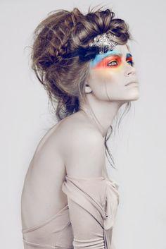 Lilogi.com - inspiration image, tribal makeup, colors, hair, #makeup