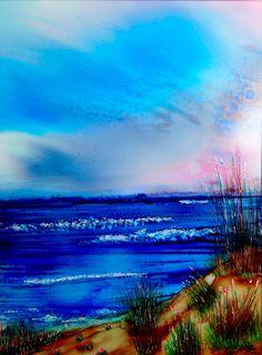 Alcohol Ink Art. Ocean Dunes. by KCsCornerGallery on Etsy