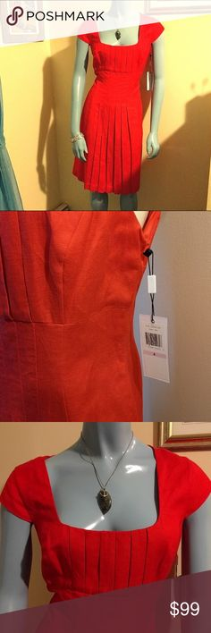 RARE NWT #CK #FireLinen Pleated #TulipDress Gorgeous and NWT linen pleated ! Perfect for any summer party! I cinched the mannequin (size 2). This dress fits around a medium.  I LOVE trades and/or make an offer why dontcha? :D Calvin Klein Dresses Midi