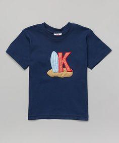 Look what I found on #zulily! Navy Surfing Initial Tee - Toddler & Boys #zulilyfinds