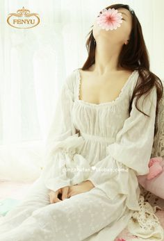 db44fac1cc Free Shipping 100% Cotton Prinsty Nightdress Women s Nightgown Long White  Pijamas Embroidery Sleepwear nightdress feminino