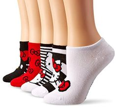 fddd50808 Hello Kitty Women's 5 Pack No Show Socks, Assorted Neutral/Red, Black, White,  9-11