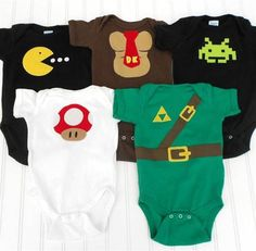 READY TO SHIP Video Gamer Deluxe Set Onesies - Pac Man, Donkey Kong, Space Invaders, Super Mario and Link from the Legend of Zelda boys gender neutral geeky nerdy nerd geek video game video games cute clothing kids lindasumnerdesigns etsy Nerd Baby, Onesies, Baby Shirts, Baby Kids, Cute Babies, Toddler Girls, Diy Bebe, Baby Games, Geek Chic