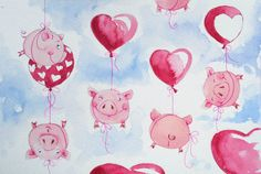 Sarah Pinyan posted Elina Ellis Illustration to her -nice signs- postboard via the Juxtapost bookmarklet. Pig Drawing, Watercolor Drawing, This Little Piggy, Little Pigs, Pig Illustration, Pig Art, Mini Pigs, Cute Piggies, Flying Pig