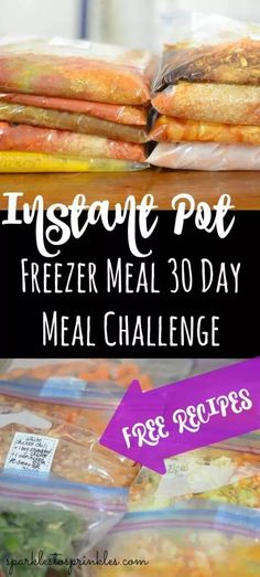 Are your ready for this Instant Pot Freezer Meal 30 Day Meal Challenge? This meal challenge is a way to inspire you to cook at home for a full 30 days? Pin for Later! and Drink meals 30 Instant Pot Freezer Meals Pork Freezer Meals, Dump Meals, Freezer Cooking, Freezer Recipes, Cooking Recipes, Crockpot Recipes, Chicken Recipes, Cooking 101, Cooking Games