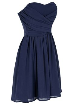 Gorgeous navy blue a-line with sweetheart neckline, knee-length. This would be a great bridesmaid dress.