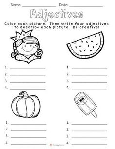 Today I& going to share with you one of my favorite lessons to teach!It& the HOOK I use to begin our unit on adjectives.I gather my kiddos on the carpet, and show them my brown paper bag. Adjectives Activities, Grammar Activities, Teaching Grammar, English Activities, Teaching Writing, Student Teaching, Classroom Activities, Teaching English, Math Worksheets
