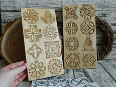 These patterns were drawn and carved during my Pattern Challenge (from November 23rd to December 22nd), when I was designing and carving one pattern a day. The Pattern Challenge set includes: - 2 boards with 32 hand-carved chip carvings patterns on both sides of them; - 30 hand-carved chip