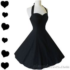New Classic Retro Black Halter Dress Flirty Fun Swing Skirt