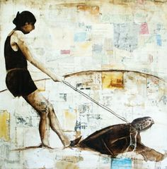 Original Mixed Media Oil Painting with Collage-Girl Riding on a turtle-alternate modes of transportation.  via Etsy.