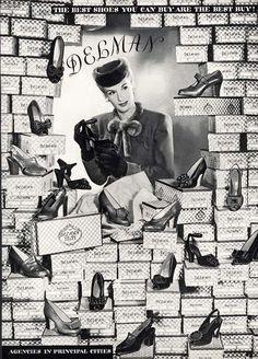 Delman Shoe Ad 1943 Many Styles Shoe in Shoe Store | eBay