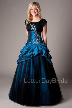 The Poppy |    This taffeta and tulle ballgown is adorned with beadwork on the front and back.    Dress available in Navy, Silver or Green    Dress Shown in Navy     Available at LatterDayBride.com or in Store At Latter Day Bride Located in Salt Lake City, Utah