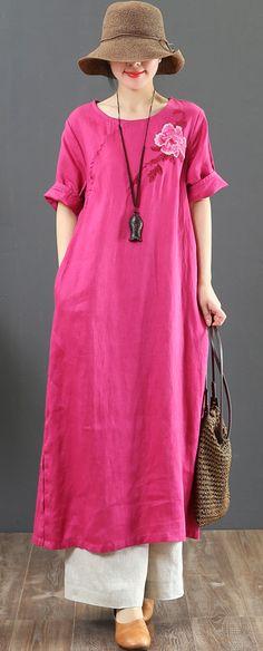 6ce39fcbdf6 Modern o neck embroidery linen dress Women Inspiration rose Art Dresses  Summer rosedress linendress