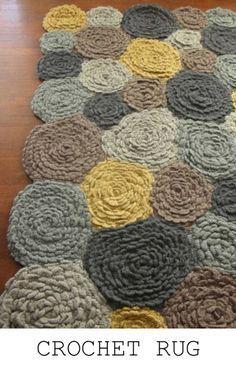 crocheted roses rug - yellow & gray